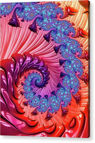 Colorful Fractal Spiral Red And Blue - Acrylic Print