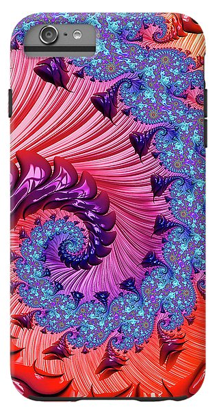 Colorful Fractal Spiral Red And Blue - Phone Case