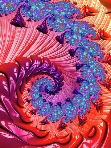Colorful Fractal Spiral Red And Blue - Art Print