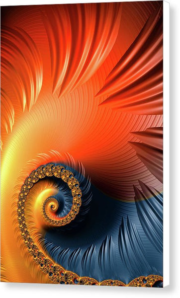 Colorful Fractal Spiral With Warm Tones Orange And Red - Canvas Print