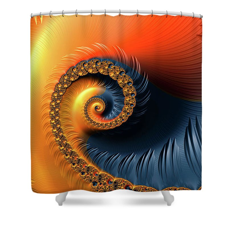 Colorful Fractal Spiral With Warm Tones Orange And Red - Shower Curtain