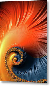 Colorful Fractal Spiral With Warm Tones Orange And Red - Metal Print
