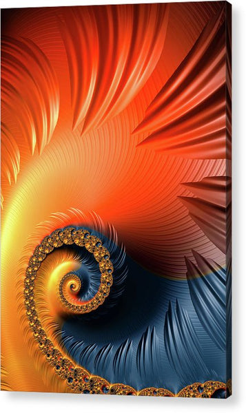 Colorful Fractal Spiral With Warm Tones Orange And Red - Acrylic Print