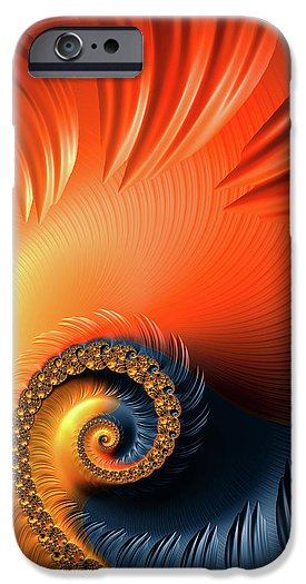 Colorful Fractal Spiral With Warm Tones Orange And Red - Phone Case