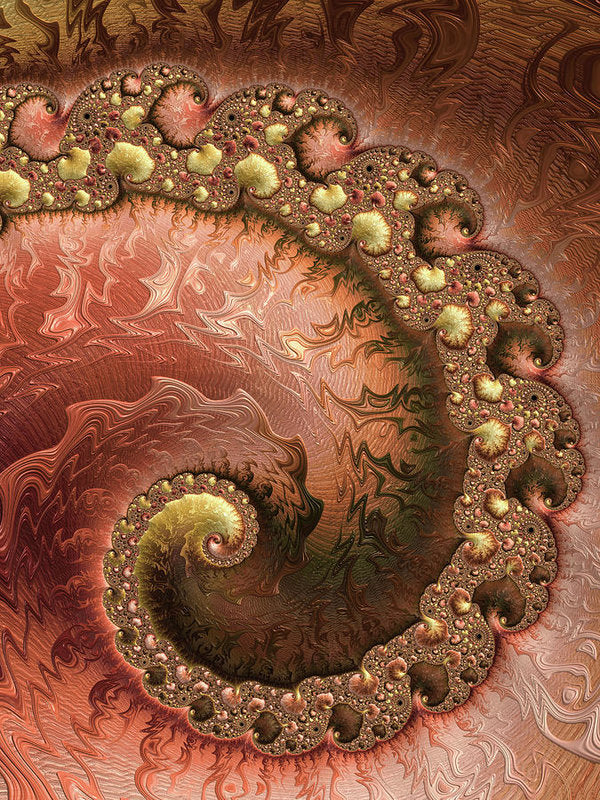 Contemporary Fractal Spiral Copper Gold Sienna - Art Print