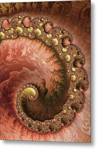 Contemporary Fractal Spiral Copper Gold Sienna - Metal Print