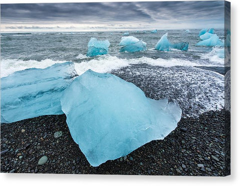 Cool Blue Glacier Ice On Black Beach In Iceland - Canvas Print