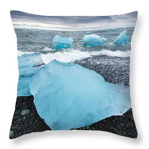 Cool Blue Glacier Ice On Black Beach In Iceland - Throw Pillow