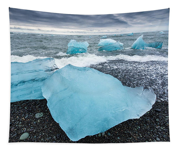 Cool Blue Glacier Ice On Black Beach In Iceland - Tapestry