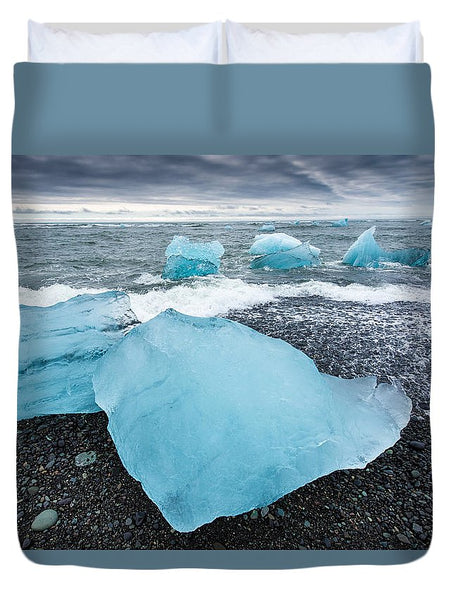 Cool Blue Glacier Ice On Black Beach In Iceland - Duvet Cover