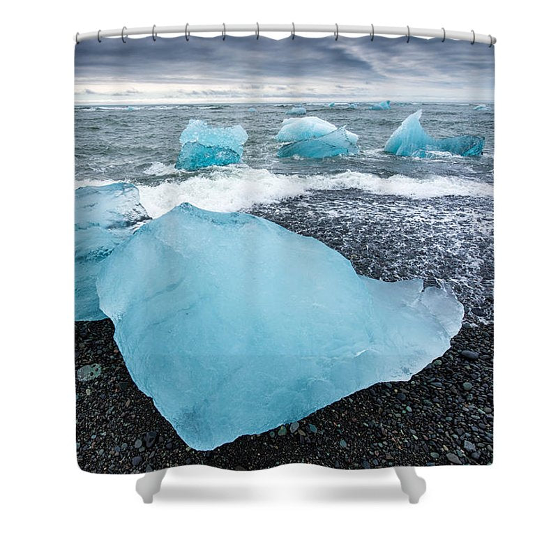 Cool Blue Glacier Ice On Black Beach In Iceland - Shower Curtain