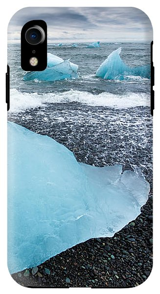 Cool Blue Glacier Ice On Black Beach In Iceland - Phone Case