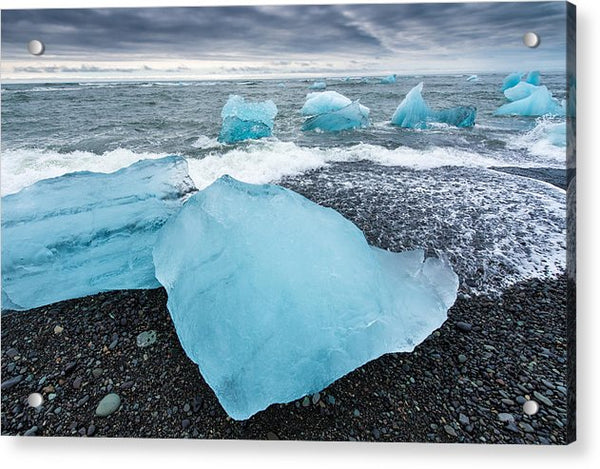 Cool Blue Glacier Ice On Black Beach In Iceland - Acrylic Print