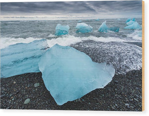 Cool Blue Glacier Ice On Black Beach In Iceland - Wood Print