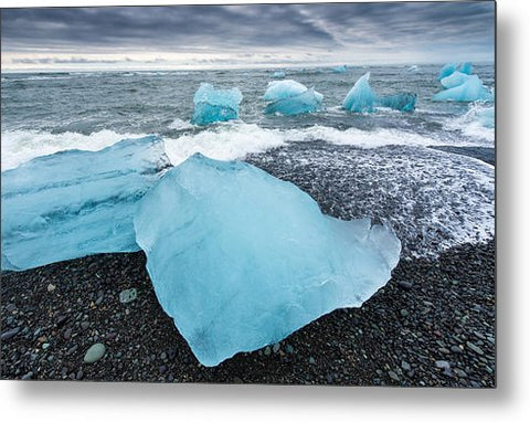Cool Blue Glacier Ice On Black Beach In Iceland - Metal Print