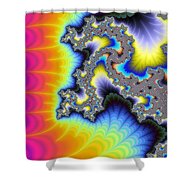 Crazy Wild And Colorful Fractal Artwork - Shower Curtain