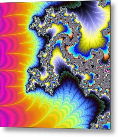 Crazy Wild And Colorful Fractal Artwork - Metal Print
