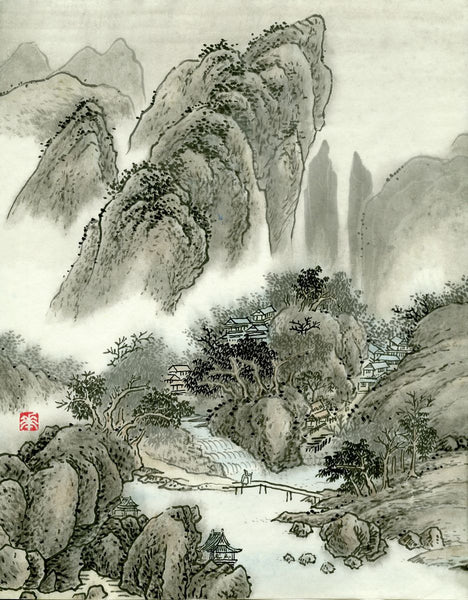 Landscape 40 Chinese Brush Painting by River Han