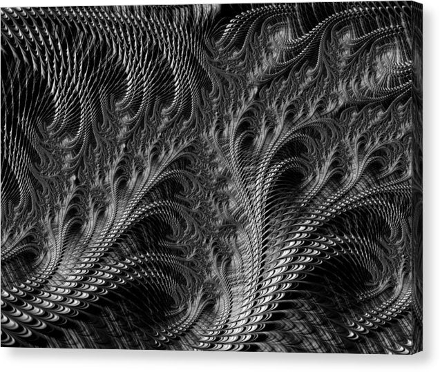 Dark Loops - Black And White Fractal Abstract - Canvas Print