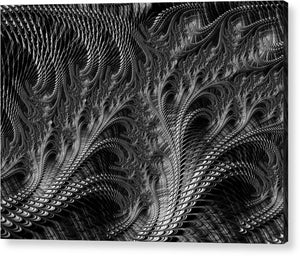 Dark Loops - Black And White Fractal Abstract - Acrylic Print