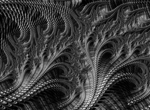 Dark Loops - Black And White Fractal Abstract - Art Print