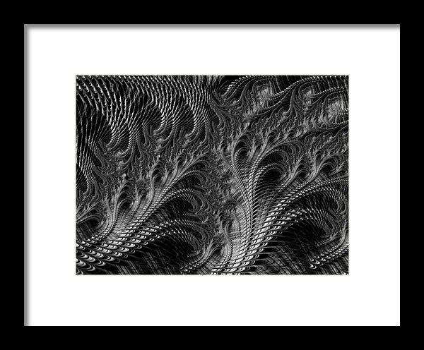 Dark Loops - Black And White Fractal Abstract - Framed Print