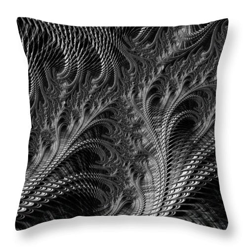 Dark Loops - Black And White Fractal Abstract - Throw Pillow