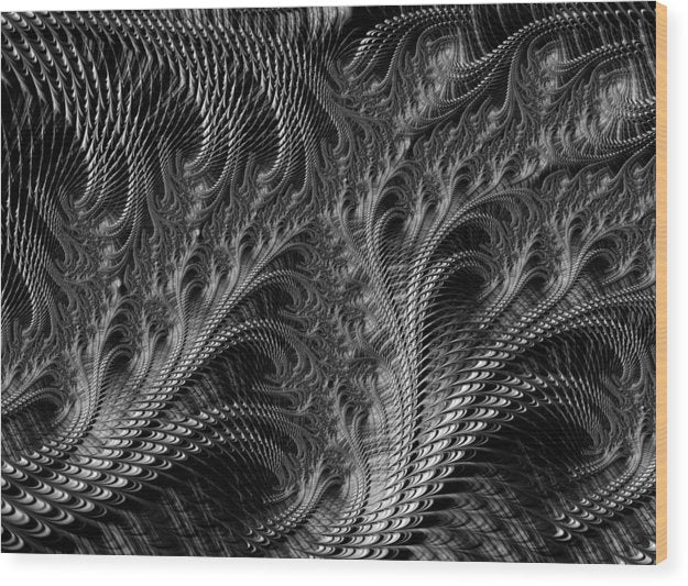 Dark Loops - Black And White Fractal Abstract - Wood Print