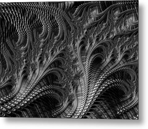 Dark Loops - Black And White Fractal Abstract - Metal Print