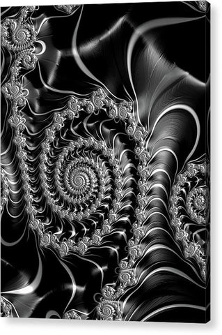 Dark Spirals - Fractal Art Black Gray White - Acrylic Print