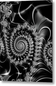 Dark Spirals - Fractal Art Black Gray White - Metal Print