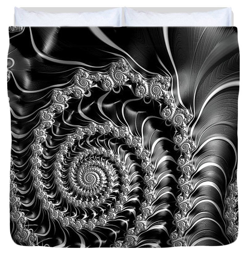 Dark Spirals - Fractal Art Black Gray White - Duvet Cover