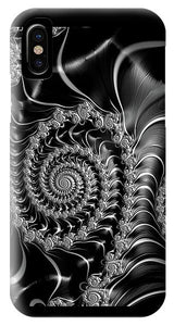 Dark Spirals - Fractal Art Black Gray White - Phone Case