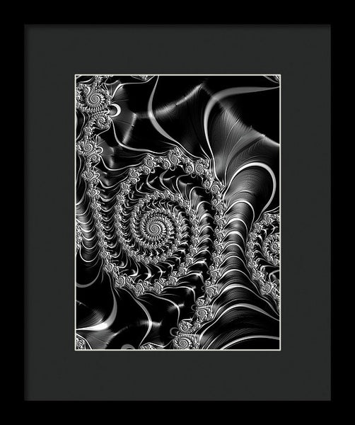 Dark Spirals - Fractal Art Black Gray White - Framed Print