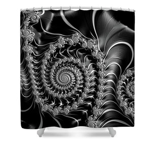 Dark Spirals - Fractal Art Black Gray White - Shower Curtain