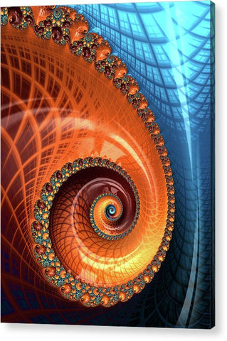 Decorative Fractal Spiral Orange Coral Blue - Acrylic Print