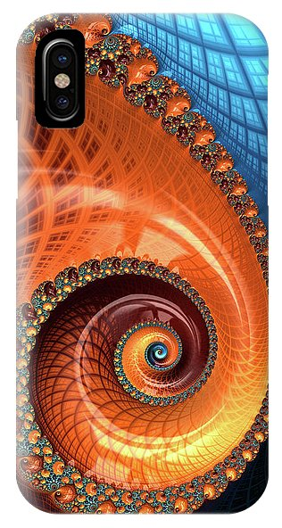 Decorative Fractal Spiral Orange Coral Blue - Phone Case