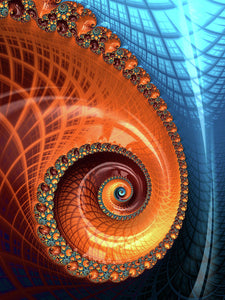 Decorative Fractal Spiral Orange Coral Blue - Art Print