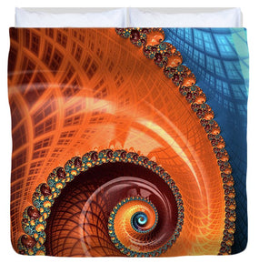 Decorative Fractal Spiral Orange Coral Blue - Duvet Cover