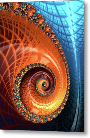 Decorative Fractal Spiral Orange Coral Blue - Metal Print