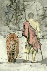 Monk and Tiger Chinese Brush Painting by River Han