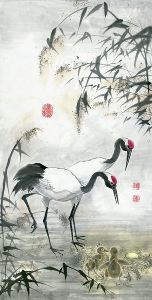 Cranes 19 Chinese Brush Painting by River Han