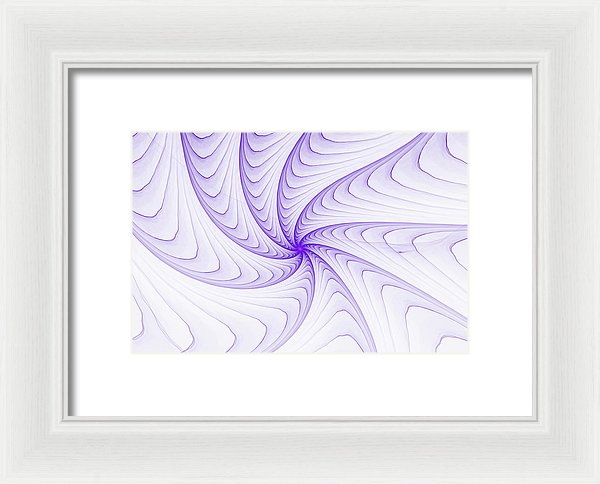 Elegant Fractal Spiral Purple And White - Framed Print