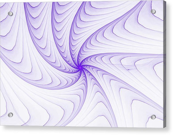 Elegant Fractal Spiral Purple And White - Acrylic Print