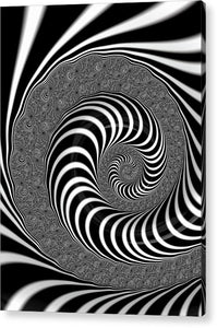 Endless Fractal Spiral Black And White - Acrylic Print