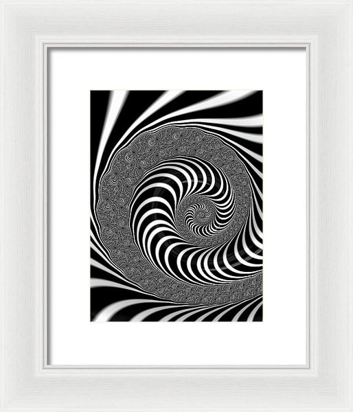 Endless Fractal Spiral Black And White - Framed Print