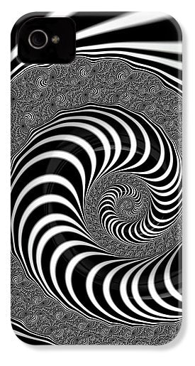 Endless Fractal Spiral Black And White - Phone Case