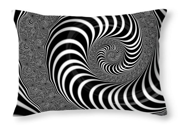 Endless Fractal Spiral Black And White - Throw Pillow