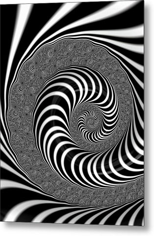 Endless Fractal Spiral Black And White - Metal Print