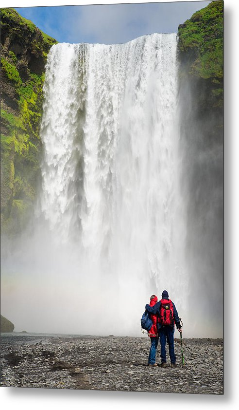 Enjoying Skogafoss Waterfall In Iceland - Metal Print